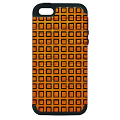 Halloween Squares Plaid Orange Apple Iphone 5 Hardshell Case (pc+silicone)