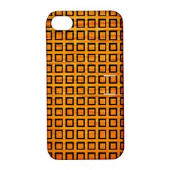 Halloween Squares Plaid Orange Apple iPhone 4/4S Hardshell Case with Stand