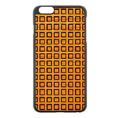 Halloween Squares Plaid Orange Apple iPhone 6 Plus/6S Plus Black Enamel Case