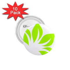 Leaf Green White 1.75  Buttons (10 pack)