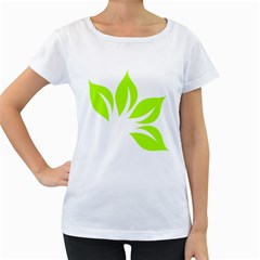 Leaf Green White Women s Loose-Fit T-Shirt (White)