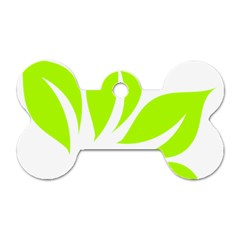 Leaf Green White Dog Tag Bone (two Sides)