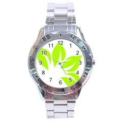 Leaf Green White Stainless Steel Analogue Watch