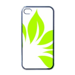 Leaf Green White Apple iPhone 4 Case (Black)