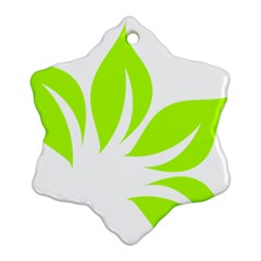 Leaf Green White Snowflake Ornament (Two Sides)