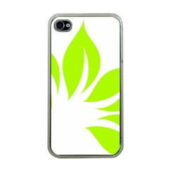 Leaf Green White Apple iPhone 4 Case (Clear)