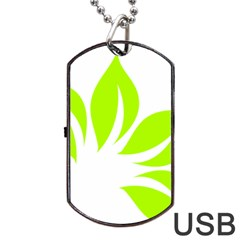 Leaf Green White Dog Tag USB Flash (One Side)