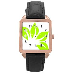 Leaf Green White Rose Gold Leather Watch