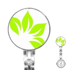 Leaf Green White Stainless Steel Nurses Watch