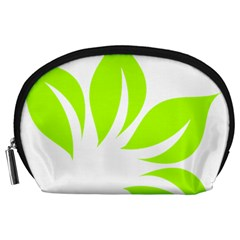 Leaf Green White Accessory Pouches (Large)