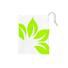 Leaf Green White Drawstring Pouches (Small)