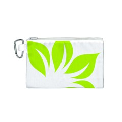 Leaf Green White Canvas Cosmetic Bag (S)