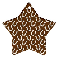 Horse Shoes Iron White Brown Star Ornament (Two Sides)