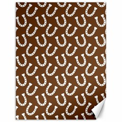 Horse Shoes Iron White Brown Canvas 12  x 16