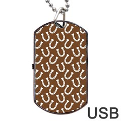 Horse Shoes Iron White Brown Dog Tag USB Flash (One Side)