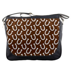 Horse Shoes Iron White Brown Messenger Bags