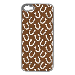 Horse Shoes Iron White Brown Apple iPhone 5 Case (Silver)