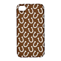 Horse Shoes Iron White Brown Apple iPhone 4/4S Hardshell Case with Stand