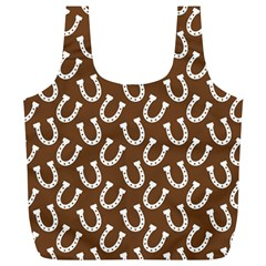 Horse Shoes Iron White Brown Full Print Recycle Bags (L)