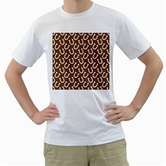 Horse Shoes Iron White Brown Men s T-Shirt (White)