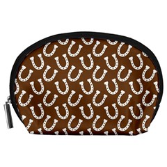 Horse Shoes Iron White Brown Accessory Pouches (Large)