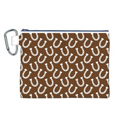 Horse Shoes Iron White Brown Canvas Cosmetic Bag (L)