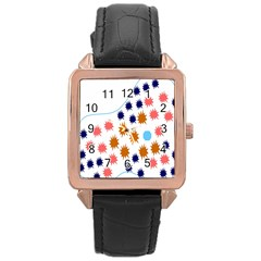 Island Top View Good Plaid Spot Star Rose Gold Leather Watch