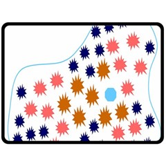 Island Top View Good Plaid Spot Star Double Sided Fleece Blanket (Large)