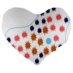 Island Top View Good Plaid Spot Star Large 19  Premium Flano Heart Shape Cushions