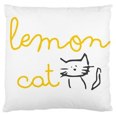 Lemon Animals Cat Orange Large Flano Cushion Case (Two Sides)