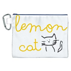 Lemon Animals Cat Orange Canvas Cosmetic Bag (XXL)