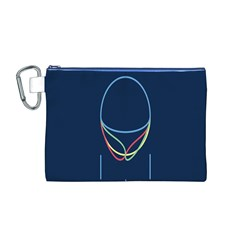 Line Light Blue Green Red Yellow Canvas Cosmetic Bag (M)