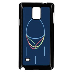Line Light Blue Green Red Yellow Samsung Galaxy Note 4 Case (Black)