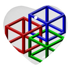 Impossible Cubes Red Green Blue Ornament (Heart)