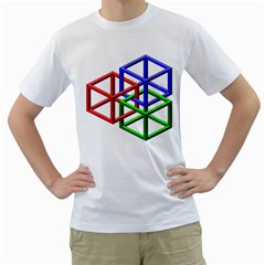 Impossible Cubes Red Green Blue Men s T-Shirt (White) (Two Sided)