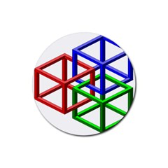Impossible Cubes Red Green Blue Rubber Coaster (Round)