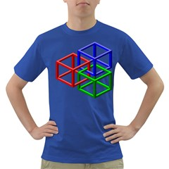 Impossible Cubes Red Green Blue Dark T-Shirt