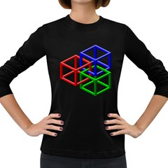 Impossible Cubes Red Green Blue Women s Long Sleeve Dark T-Shirts