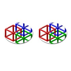 Impossible Cubes Red Green Blue Cufflinks (Oval)
