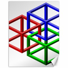 Impossible Cubes Red Green Blue Canvas 12  x 16