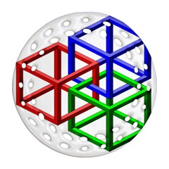 Impossible Cubes Red Green Blue Ornament (Round Filigree)