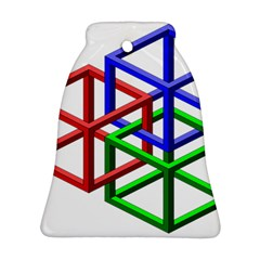 Impossible Cubes Red Green Blue Bell Ornament (Two Sides)