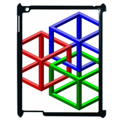 Impossible Cubes Red Green Blue Apple iPad 2 Case (Black)
