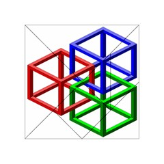 Impossible Cubes Red Green Blue Acrylic Tangram Puzzle (4  x 4 )