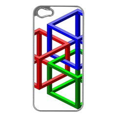 Impossible Cubes Red Green Blue Apple iPhone 5 Case (Silver)