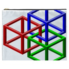 Impossible Cubes Red Green Blue Cosmetic Bag (XXXL)