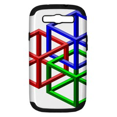 Impossible Cubes Red Green Blue Samsung Galaxy S III Hardshell Case (PC+Silicone)