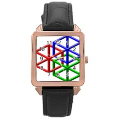 Impossible Cubes Red Green Blue Rose Gold Leather Watch