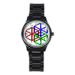 Impossible Cubes Red Green Blue Stainless Steel Round Watch