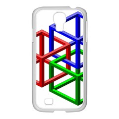 Impossible Cubes Red Green Blue Samsung GALAXY S4 I9500/ I9505 Case (White)